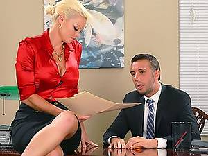 Sexy adult assistant Rhylee Richards seduces her married boss in the office