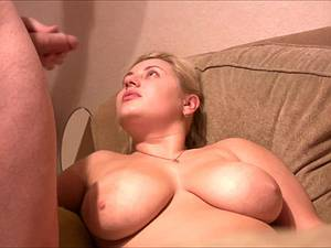 Chubby slut with huge knockers gets cum painted