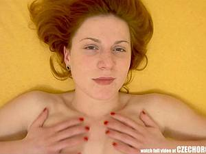 Czech goddess rubs her pussy to a squirting climax