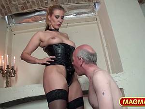 Dominant woman makes sure she is in control of the pleasure.