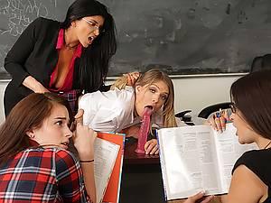 Strict teacher Romy Rain punishes her naughty student in skirt Giselle Palmer